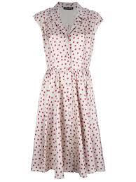dolce u0026 gabbana polka dot shirt dress in natural lyst