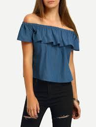 denim blouses blue boat neck ruffle denim blouse winter is coming