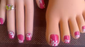 toes u0026 short fingernails pink with easy white flowers youtube