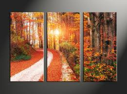 3 piece colorful autumn scenery photo canvas