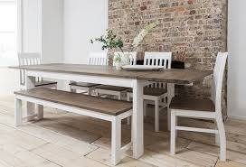 Extendable Dining Table With Bench by Hever Dining Table With 5 Chairs U0026 Bench In White And Dark Pine