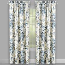 Blue Floral Curtains Waverly Blue Forever Floral Window Curtains Set Of 2