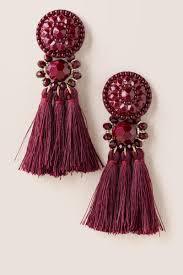 gunmetal chandelier earrings cassandra button tassel earring in wine francesca u0027s серьги