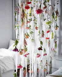 Ikea Flower Curtains Decorating Different Artificial Flowers Hanging From The Ceiling In White
