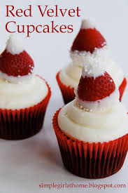 simple red velvet cupcakes with strawberry santa hats