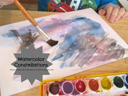 outer space art project watercolor constellations time