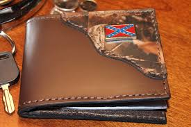 Confederate Flag Guitar Strap Bifold Classic Wallet Brown With Realtree Camo Accent And Rebel