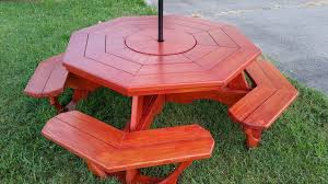 octagon picnic table with rotating center carousel youtube