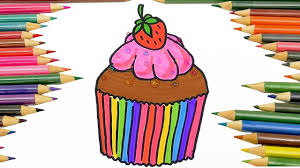 drawing cupcake coloring pages for kids coloring world 18 youtube