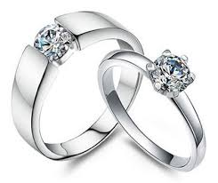 sterling promise rings images Cubic zirconia couple 39 s matching his and her promise rings in 925 jpg