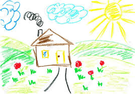 House Drawing House Kids Art Child U0027s Drawing With Crayons Stock Photo