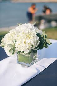 beach classic nautical preppy white centerpiece greenery hydrangea