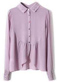 purple blouses light purple hollow out irregular turndown collar chiffon blouse