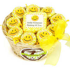 Cookie Gift Baskets All Smiles Chocolate Dipped Oreos Gift Basket Smiley Face Cookies