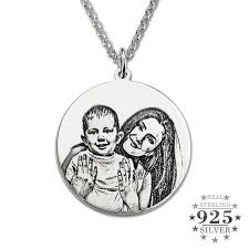personalized necklace silver images Personalized 925 sterling silver photo engraved necklace jpg
