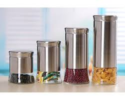Kitchen Storage Canisters Sets Amazon Com Home Basic 4 Piece Essence Canister Set Home U0026 Kitchen