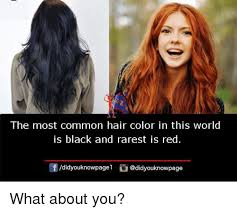Most Common Memes - the most common hair color in this world is black and rarest is red