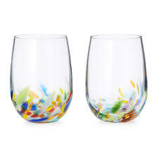 wine glasses confetti wine glasses set of 2 blown stemless wine