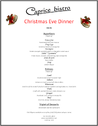 special menu at caprice for christmas eve