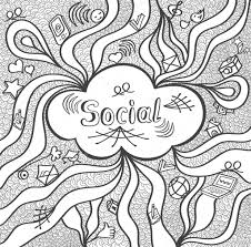 abstract social cloud in doodle style black white for website