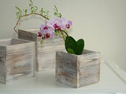 Shabby Chic Planters by Wood Box Woodland Planter Flowers Vases Rustic Pot Square