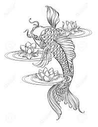 hand drawn asian spiritual symbols koi carp with lotus and