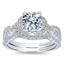 gabriel and co wedding bands 14k white gold 16cttw prong set contoured diamond wedding
