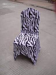 zebra print black white spandex banquet chair cover with front
