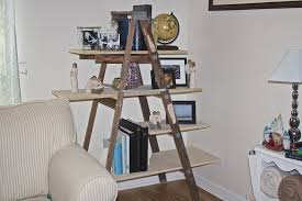 Corner Ladder Bookcase by Shabby Four Cream Rectangle Shelves On The Brown Wooden Poles With