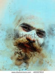 portrait sadhu baba oil color painting stock illustration