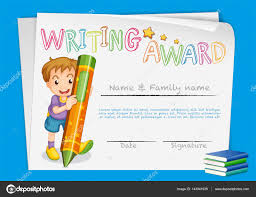 Prize Certificate Template Certificate Template For Writing Award Stock Vector