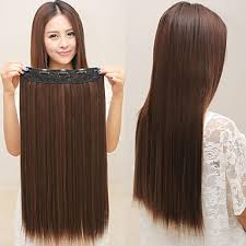 light brown hair piece 20 straight 7 pieces set clip in hair extension dark brown