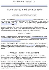 free texas corporate bylaws template pdf word
