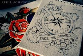 sketch compass and flowers desejo pinterest compass