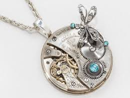crystal rope necklace images Steampunk necklace pocket watch movement steel gears set with blue jpg