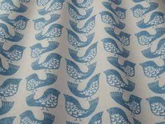 Curtains Birds Theme Aqua Iliv Scandi Leaves Cotton Curtain Fabric The Millshop