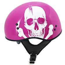 skull motocross helmet outlaw skull with visor pink motorcycle half helmet leatherup com