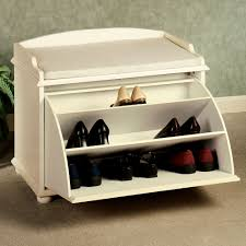 furniture white wooden bench with pull out sirage shoe and white