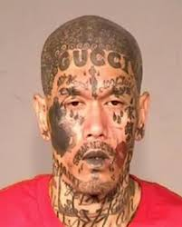 california man with crazy face tattoos enters mugshot hall of fame
