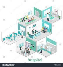 isometric flat interior hospital room pharmacy stock vector