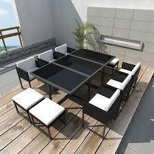 Rattan Patio Dining Set by Vidaxl Black Poly Rattan Outdoor 10 Person Dining Set Vidaxl Com