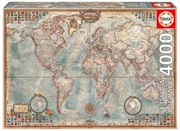 Pull Down World Map by Amazon Com 4 000 Piece Puzzle The World Map Toys U0026 Games