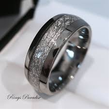 Wedding Ring And Band by Mens Tungsten Wedding Band Meteorite Inlay Ring His Engagement