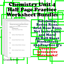 chemistry half page practice sheets great for interactive