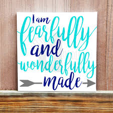i am fearfully and wonderfully made hand painted canvas bible