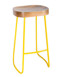Yellow Bar Table Metal Frame Ernest Bar Stool With Solid Wood Seat Industrial Style