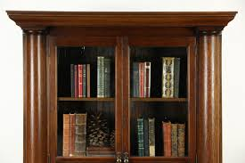 antique oak bookcase with glass doors library bookcases with glass doors