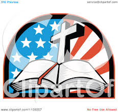 clipart retro open holy bible with a cross over an american flag