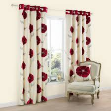 Danielle Eyelet Curtains by Danielle Cream And Red Pair Of Eyelet Curtains Scifihits Com