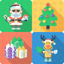 santa claus and santa u0027s reindeer christmas tree and gifts flat